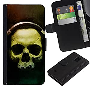 EJOY---Tirón de la caja Cartera de cuero con ranuras para tarjetas / Samsung Galaxy S5 Mini, SM-G800 / --Cráneo Auriculares