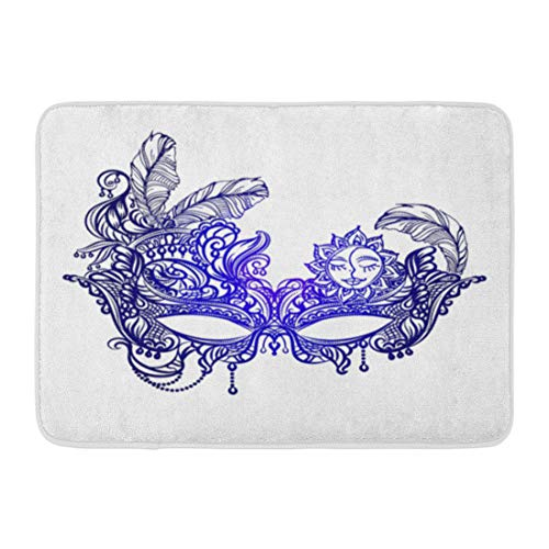 Emvency Doormats Bath Rugs Outdoor/Indoor Door Mat Orleans Face Masks in The of Boho Chic Festival Mardi Gras Masquerade Lace Bathroom Decor Rug Bath Mat 16