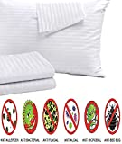 4Pack Anti Allergy Pillow Protectors 100% Cotton Sateen Bed Bug Dust Mite Lab Tested Tight Weave??Life Time Replacement?? Queen 20x30