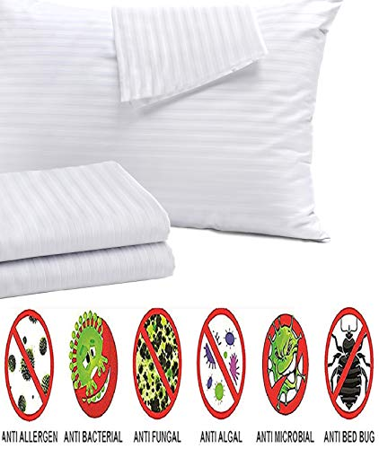 (4Pack Anti Allergy Pillow Protectors 100% Cotton Sateen Bed Bug Dust Mite Lab Tested Tight Weave❤️Life Time Replacement❤️ Queen 20x30