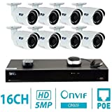 GW Security 16CH H.265 4K NVR (6TB) 5MP 1920p Surveillance System with 8 x 5MP PoE Bullet Wide Angle IP67 Waterproof IP Security Camera
