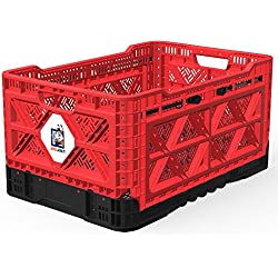 BIGANT Heavy Duty Collapsible & Stackable Smart Crate - Absolute Snap Lock Foldable Industrial Storage Bin Container Utility Tote Basket (IP543630, 48 Liters, Small Size, Red, Set of 1)
