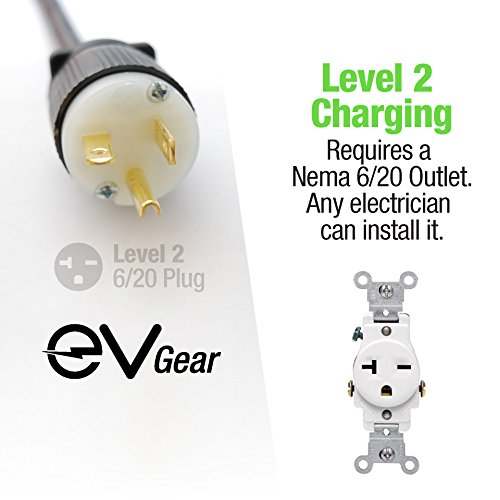 Level 2 EV Charger by EV Gear | 30 ft Portable Plug-In Charger, 110v - 240v | Includes Level 1 Adapter | Works with all Electric & Hybrid Cars such as Chevy Volt/Bolt, Nissan Leaf, Prius Prime, Tesla by EV Gear (Image #3)