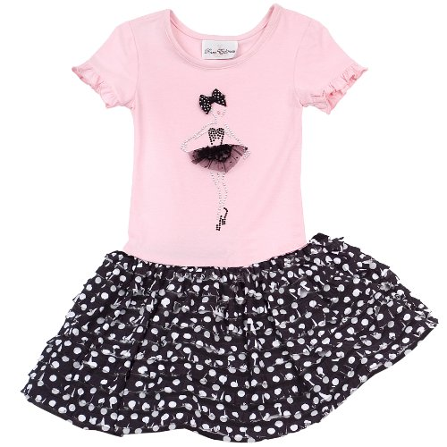 - Size-2T RRE-59242F, PINK BLACK/WHITE Dot Print Jewel-Ballerina Tiered Eyelash Ruffle Dress, Rare Editions GIRLS 2T-6X, F759242