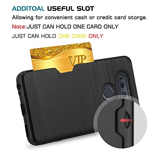 LG G Stylo Case,LG G4 Stylus Case With HD Screen Protector,(Not Fit LG G4) AnoKe [Credit Card Slots Holder][Not Wallet] Plastic TPU Hybrid Shockproof Heavy Duty Case For LS770 KC2 Black