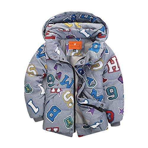Ohmais Unisex Jungen Mädchen Winter Down Jacket verdickte Winterjacke Jungen Mantel verdickte Trenchcoat Jungen Outerwear mit Kapuzen Grau