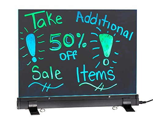 "Alpine Industries LED Flashing Eraseable Message Board with Acrylic Writing Panel and Stand (12"" x 16"")"