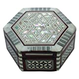 Mother Of Pearl inlaid on Wood Decorative Hexagon Jewelry Box - J049