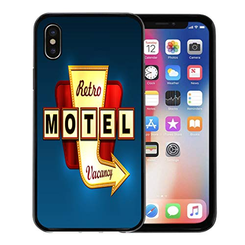 (Semtomn Phone Case for Apple iPhone Xs case,Orange Neon Retro Motel Road Sign Arrow Red Hotel Signage 50S Marquee for iPhone X Case,Rubber Border Protective)
