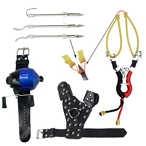 SinoArt Powerful Slingshot Bow Fishing Set Reel Hunting Catapult Steel Broadheads Darts Protect Wristband Left Hand Guard