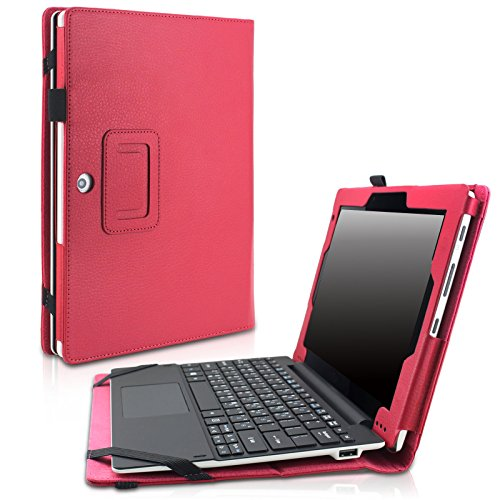 Acer Aspire Switch 10 E SW3-013 Case - Infiland Premium PU Leather Keyboard Portfolio Stand Case Cover For Switch 10 E SW3-013 10.1-Inch 2-in-1 Tablet PC Only, Red