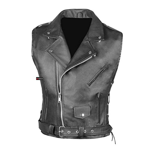 Men's Classic Leather Motorcycle Biker Concealed Carry Side Laces Vest Black XL