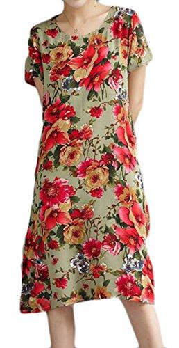 Cromoncent Linen Crewneck Dress Sleeve Loose Ethnic Womens Midi 14 Short Style ppPrZqw