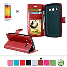 Samsung Galaxy Core LTE 4G SM-G386F Case Cover [with Free Screen Protector], Funyye Classical Pure Colour Premium Folio Leather Wallet Magnetic Flip Cover with [Credit Card Holder Slots] Book Type Style With Ultra Thin Fitted Protective Cover Shell for Samsung Galaxy Core LTE 4G SM-G386F - Claret Red