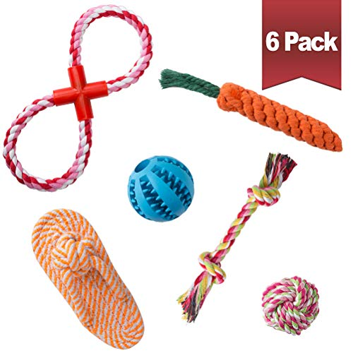 BINGPET 6 Pack Dog Toys for Small Dogs - 5 Dog Rope Toys + 1 Dog Treat Ball (Interactive Food Dispensing Dog Toy) - Puppy Teething Toys Set - Small Dog Chew Toys
