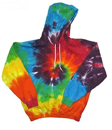 A&E Designs Rainbow Tie Dye Adult Hoodie Hoody Sweatshirt (Large)