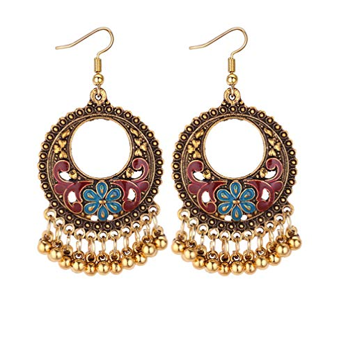 - Mapnana European and American Vintage Cross-Border Jewelry Retro Hollow Ring Geometry Metal Ball Tassels Earrings Female Creative Oil Drop Flower Earrings