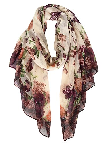 Herebuy - Fashionable Floral Scarves: Pretty Rose Print Scarf Shawl (Brown Viscose Scarf)