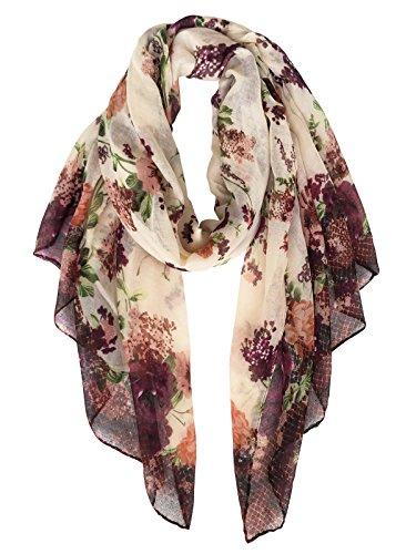 Herebuy - Fashionable Floral Scarves: Pretty Rose Print Scarf Shawl (Brown Viscose Scarf)