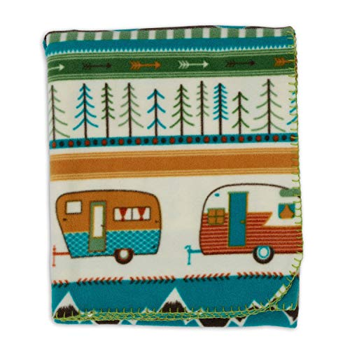 DII Happy Camper Fleece Throw Blanket Multi
