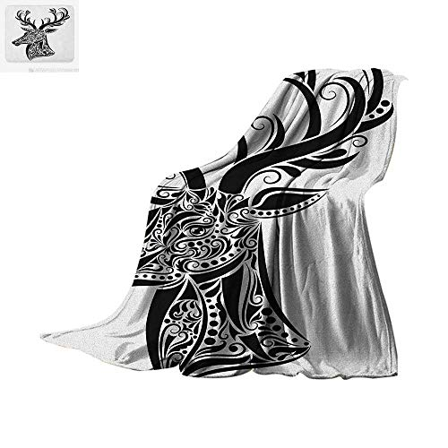 Antlers Throw Blanket Tattoo Pattern in The Shape of a Deer Creative Portrait in Black and White Colors Warm Microfiber All Season Blanket for Bed or Couch 60