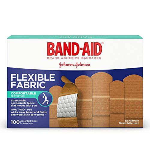 Fabrics That Care - Band-Aid Brand Flexible Fabric Adhesive Bandages for Minor Wound Care, Assorted Sizes, 100 Count
