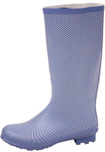 Womens Boots 5 Wellys Black Rain Snow 7 Moon Wellies Style Dots 6 Size K Winter 9 Fur Wellington 4 8 Ladies Blue nxqOwtvw