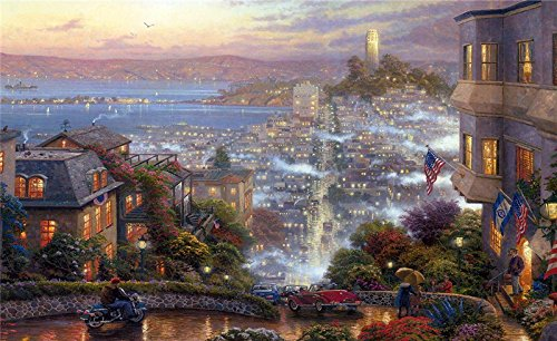 - kinkade_san_francisco_lombard_street_art- USA Hawaii Las Vegas Los Angeles new york San Francisco Postcard Post card