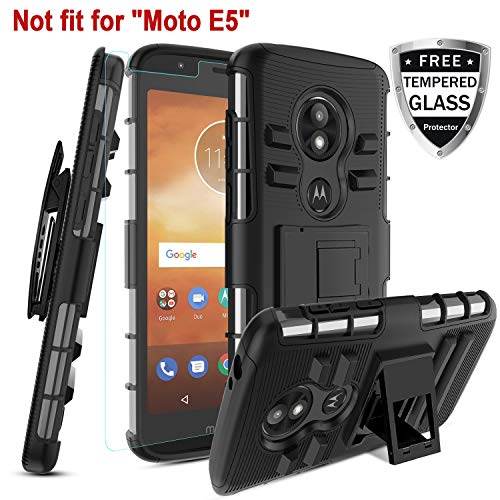 - Motorola Moto E5 Play Case, Moto E5 Cruise W [Tempered Glass Screen Protector] [Built-in Kickstand] Rotatable Combo Holster Belt Clip Rugged PC Back &TPU Soft Inner Armor Protective case,Black