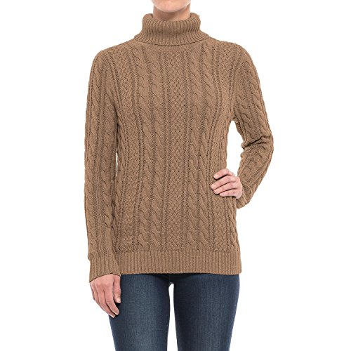 - Jeanne Pierre Women's Fisherman Cable-Knit Turtleneck Sweater (Taupe Heather, X-Large)