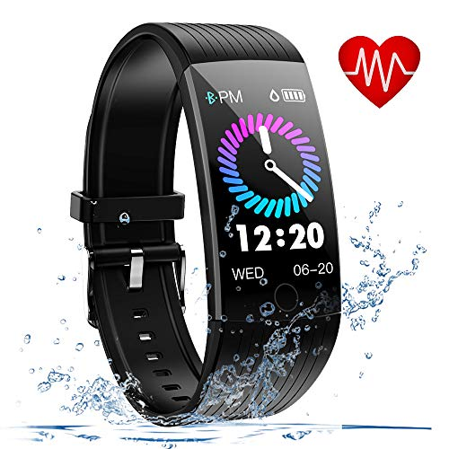 Fitness Tracker, Fitness Watch with Heart Rate Monitor, 1.14 inch Activity Tracker with Sleep Monitor (Q18-BLACK)