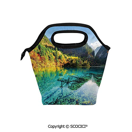 - Printed Pattern Portable Lunch Tote Bag Idyllic Mountain Creek Crystal Water Forest Pastoral Rural Landscape insulation cold outdoor picnic lunch box bag.