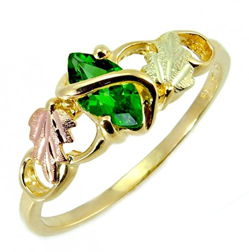 Lab Created Emerald Marquise Wrap Ring, 10k Yellow Gold, 12k Pink and Green Gold Black Hills Gold Motif, Size 7.5