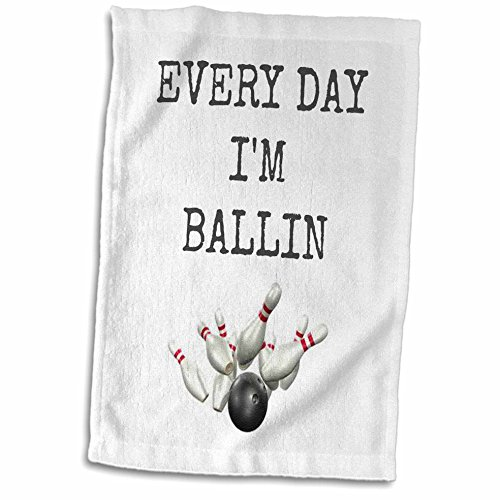 Pin Bowling Photo (3dRose Xander Sports Sayings - Every Day im Ballin, Bowling Ball and pins Picture, Black Lettering - 15x22 Hand Towel (TWL_172357_1))