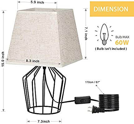 Chrome Metal With Small Minimalist Basket LampModern Table Bedside Fabric Shade Haitral Linen Style Nightstand Cage Base Lamps LpGzVSUqM