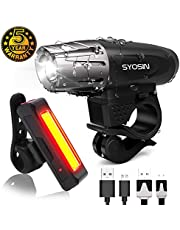 SUPERSTA Bike Lights, LED USB Rechargeable Bike Light Set 400 High lumen Front and Rear Bicycle Safety Lights Waterproof and Easy Install Headlight and Tail Light for Cycling, Mountain and City Roads