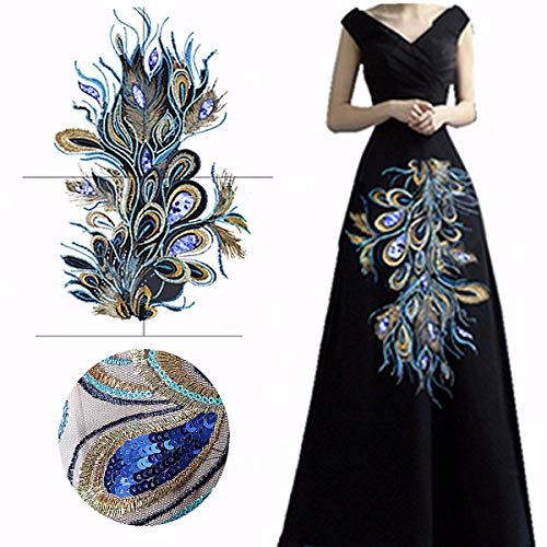 KINGSO 23.62 x 12.60 Fashion Craft Embroidered Blue Sequins Peacock Feather Applique Sew Trim