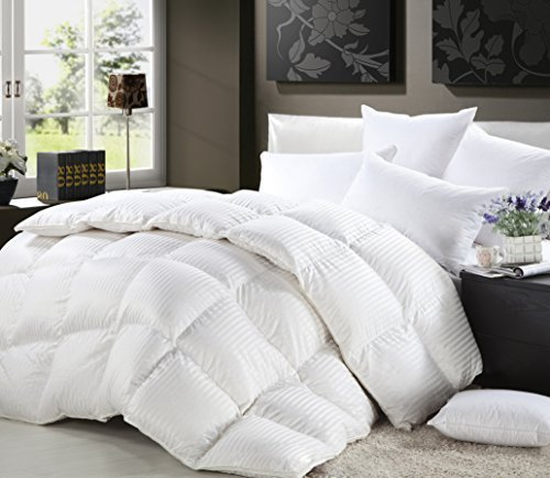 1200 Thread Count FULL / QUEEN Size Siberian Goose Down Comforter 100% Egyptian Cotton 750FP, 50oz & 1200TC - White Stripe - Egyptian Cotton Comforter