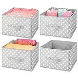mDesign Soft Fabric Closet Storage Organizer Holder Box Bin - Attached Handle, Open Top, for Child/Kids Bedroom, Nursery, Toy Room - Fun Polka Dot Print - Medium, 4 Pack - Gray/White Dots