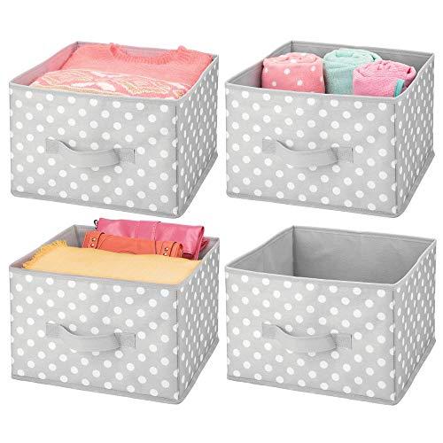 mDesign Soft Fabric Closet Storage Organizer Holder Box Bin - Attached Handle, Open Top, for Child/Kids Bedroom, Nursery, Toy Room - Fun Polka Dot Print - Medium, 4 Pack - Gray/White Dots ()