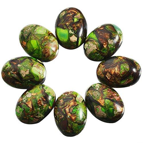 - SUNYIK Green/Brown Oval Stone Cabochons Flatback Semi-Precious CAB for Jewelry Making,Sea Sediment Jasper,18x25mm,Pack of 10
