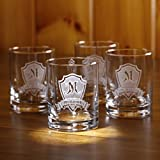 Personalized Rocks Glass, Whiskey, Scotch, Bourbon Glasses SET OF 4 (M30)