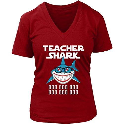 Doo V-neck - Teacher Shark Women V-Neck Shirt Doo Doo Plus Size XL-4XL VnSupertramp Apparel