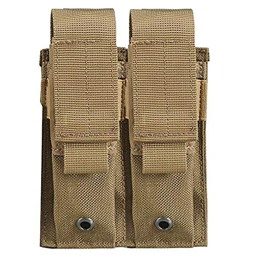 AIMILL Tactical Double Pistol Mag Pouch Velcro Flap Molle Handgun Magazine Holder (Tan Khaki, Single Pouch Size :L1.8