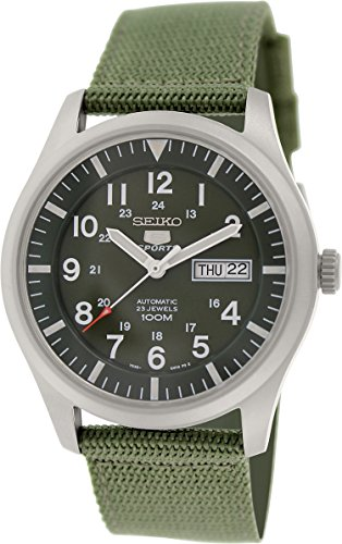 Seiko 5 Men's SNZG09K1 Sport Analog Automatic Khaki Green Canvas Watch Automatic Sports Mens Watch