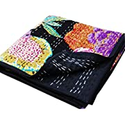 Virasat Exports- Kantha Baby Quilt Indian Black Tropical Handmade Bedding Throw Baby Blanket Cotton Throw 45x45
