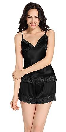 d212d578eb LilySilk Womens 22 Momme Lace Silk Camisole Set 100% Mulberry Silk Pajamas  Set Black S