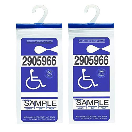 Handicap Parking Placard Holder - Disabled Parking Permit Holder Hanger Sleeve with Larger Hook by Tbuymax(Set of 2) (Placard Set)