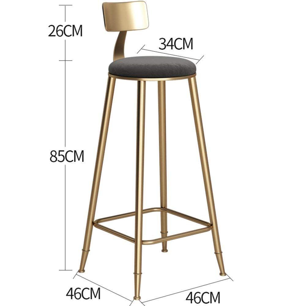 gold-Black 85cm DDLD Bar Stools, golden Iron Art Bar Chair Strong and Durable Bar Stool Table with Backrest Soft Padded Chairs color Height Optional for Breakfast Bar, Counter, Kitchen