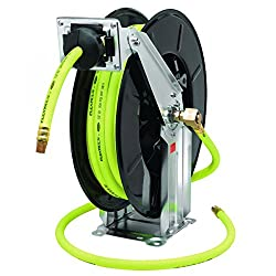 Flexzilla Retractable Open Face Dual Arm Air Hose Reel, 12 In. X 50 Ft, Heavy Duty, Lightweight, Hybrid, Zillagreen - L8741fz